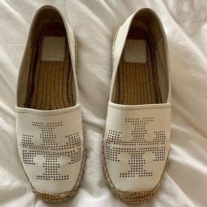 Tory Burch White Leather Espadrilles